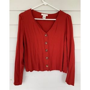 Rust Red Button Up Top